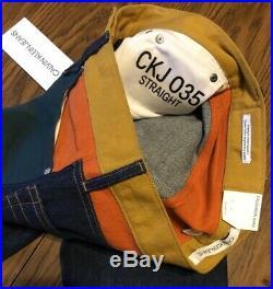 CALVIN KLEIN Mens Ukelely Patch Jeans Italian Denim Green/Orange 30x32 MRSP $198