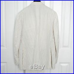 CANALI $2050 linen cotton 2 piece off white blue pinstriped slim suit 38/48 NEW