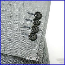 CANALI $2650 light gray blue wool linen silk slim 2piece suit 34-US/44-IT 6R NEW