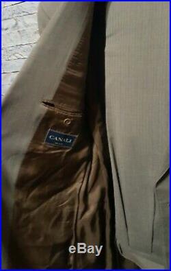 CANALI Mens US 44L 2 Button Wool Beige Blue Pinstripe 2 Piece Italian Suit 34x30