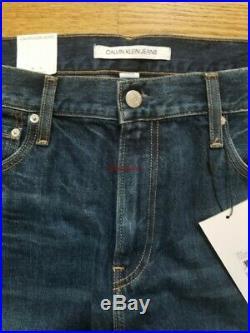 CK CALVIN KLEIN Mens 38 x 32 Jeans Slim Patch $148 NWT Premium Italian Denim