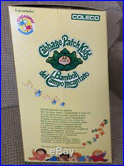 Cabbage Patch Doll (Italian) in Box, Light Brown Braids Blue Eyed girl 1984