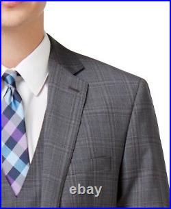 Calvin Klein Men's 3 Pieces Slim Fit Gray Vested Suit Wool Y665 Retail $695