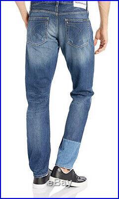 Calvin Klein Mens Slimfit Jeans Italian Blue Denim Patch W30xL32 CKJ 026 $148.00