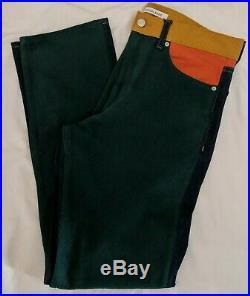 Calvin Klein Mens Ukelely Patch Jeans Italian Denim Green Orange 32x32