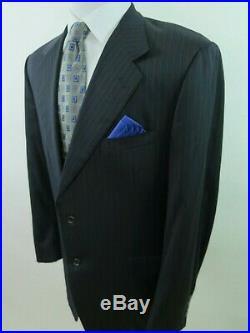 Canali Bertini Pure Wool Dark Blue Striped Two Piece Italian Men Suit 34x29 43 R