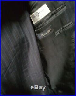 Canali Men's EU 54R US 44R Navy Blue Pinstripe 2 Button Italian 2 Piece Suit