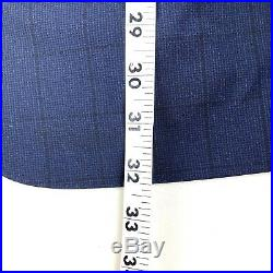Canali Mens 2 Piece Suit Recent Navy Blue Window Pane Check Wool 56 R US 46