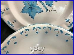 Cantagalli Italy BLUE Floral Pottery 2 Piece Serving Set Bowl, Plate
