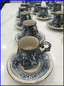 Capodimonte, Italian Elegant Blue and Gold Demitasse (M. A. S) Service, 15 pieces