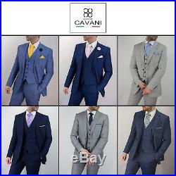 Cavani Mens Three Piece Wedding Suit Party Prom Formal Vintage Navy Blue Grey