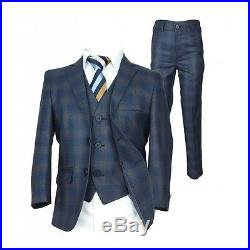 Checkered Blue Gold Page Boy Suit Italian Cut Boys Formal Wedding Prom Suits