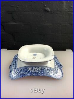Copeland Spode Italian Blue Footed 2 Handled Comport / Dish Centre Piece RARE