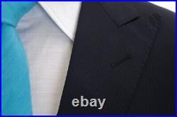 Corneliani Midnight Blue 3 Piece Peak Lapel Flat Front Suit w MOP Buttons US 40R