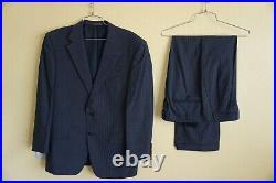 Corneliani Saks Fifth Avenue Men's 2 Piece Wool Striped Blue Suit 40R 32W x 28L