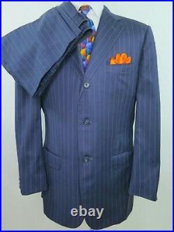 Corneliani Super 120s Wool Blue Striped Two Piece Italian Men Suit 33x30 40/42 R