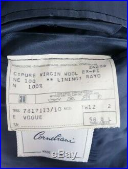 Corneliani VOGUE 2 Button 2 Piece Suit Dark Blue Striped Italy IT 58 48L 48 Long