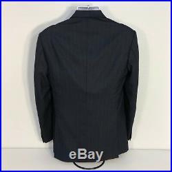 Custom Enrico Santo navy 2 piece men's suit 38r 32x29 surgeon cuff wool/cashmere