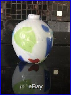 DINO MARTENS Murano Toso Harlequin Color Patch Art Glass Vase