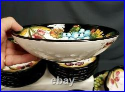 DIP A MANO Italian Pottery FRUITS Hand Painted SERVICE FOR 12 + Serving Pieces
