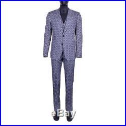 DOLCE & GABBANA 3 Pieces Owls Suit Blazer Jacket Vest Trousers Blue Gray 06888