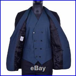 DOLCE & GABBANA 3-Pieces Tuxedo Suit Blazer Vest Pants Trousers Black Blue 06897