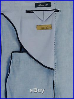 DTI BB Signature Italian Mens Suit Linen Two Button Jacket 2 Piece Modern Fit