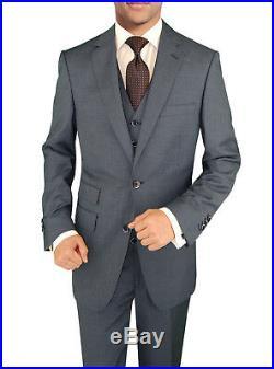 DTI BB Signature Italian Wool Vested Mens Suit 3 Piece Jacket Slacks Waistcoat
