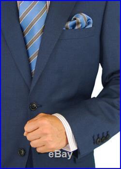 DTI GV Executive Mens 2 Button Italian Wool Suit Set Faint Herringbone Piece