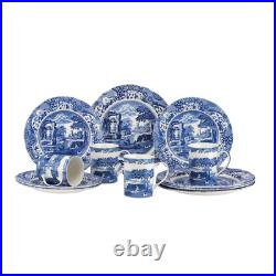Dishware Dinnerware Service For 4 Blue Italian 12 Piece Dining Plates Bowls Set