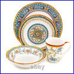 Duomo 16-Piece Patterned Multicolor/Italian Design Stoneware Dinnerware Set Ser