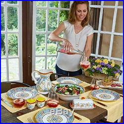 Duomo Collection Italian-Inspired 16 Piece Ceramic Dinnerware Set, Floral Desig
