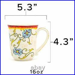 Duomo Collection Italian-Inspired 16 Piece Ceramic Dinnerware Set, Floral Design