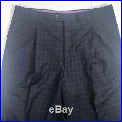 Earvin Magic Johnson Signature Sz 44R Blue Plaid 2 Piece Suit 120s Wool 38x29