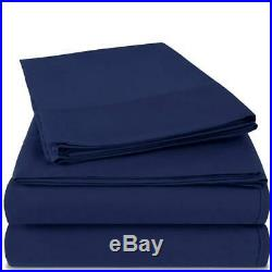 Egyptian Luxury Hotel Collection 4-Piece Bed Sheet Set Deep Queen, Navy