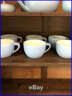 Elsa Peretti Tiffany Co Italy Thumbprint 10 Piece Tea Set Pot Sugar Creamer Blue