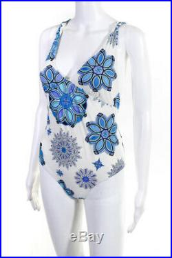 Emilio Pucci Womens Printed One Piece Swimsuit White Blue Size 46 Italian