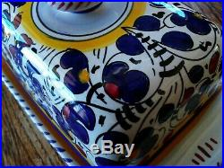 FIMA DERUTA ITALY Italian Pottery ORVIETO BLUE Rooster BUTTER DISH 2 pieces