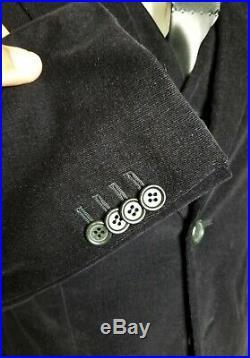 Giorgio Armani 3 Piece Velour Suit Navy Blue Black. Like New