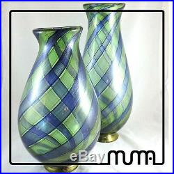 Glass Murano Vase A Canes Aventurine Green And Blue With Gold Piece Collectibles