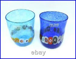 Glasses Glass Murano 2 Piece Murrina Multicolour Blue Easy Uso. Gift Idea