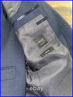 HUGO BOSS 38R 40S Three Piece Suit Patterned Virgin Wool Italian Woven DRAGO