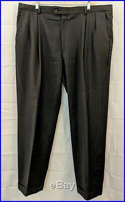 Hart Schaffner Marx Men's Wool Pinstripe Black grey/blue 2 Piece Suit 46R 40x30