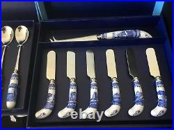 Hostess Set Spode Blue Italian 13 Pieces Spoons Cheese Knife Spreaders New