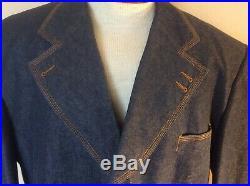 IL Canto Mens 52L Blue Denim 3 Piece Designer Suit Color Contrast Stitching