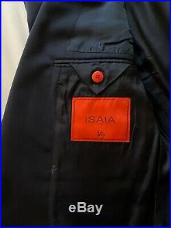 Isaia Navy 2 Piece Suit Size 50 Italian Wool Shell / Cupro Red Striped Lining