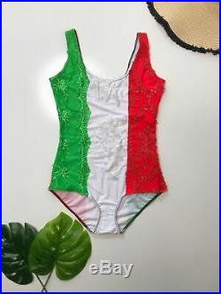 Italian Appliqué Flag One Piece Swimsuit M OP5581