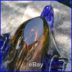 Italian Art Glass Console Bowl, Stunning Amber To Cobalt, 17 Piece