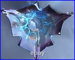 Italian Art Glass Splash Bowl Amethyst Blue Hues Vintage Piece