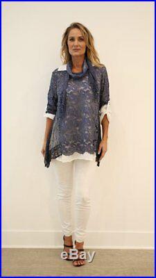 Italian Blouse Shirt Top Licia in Three Pieces Raw Moda